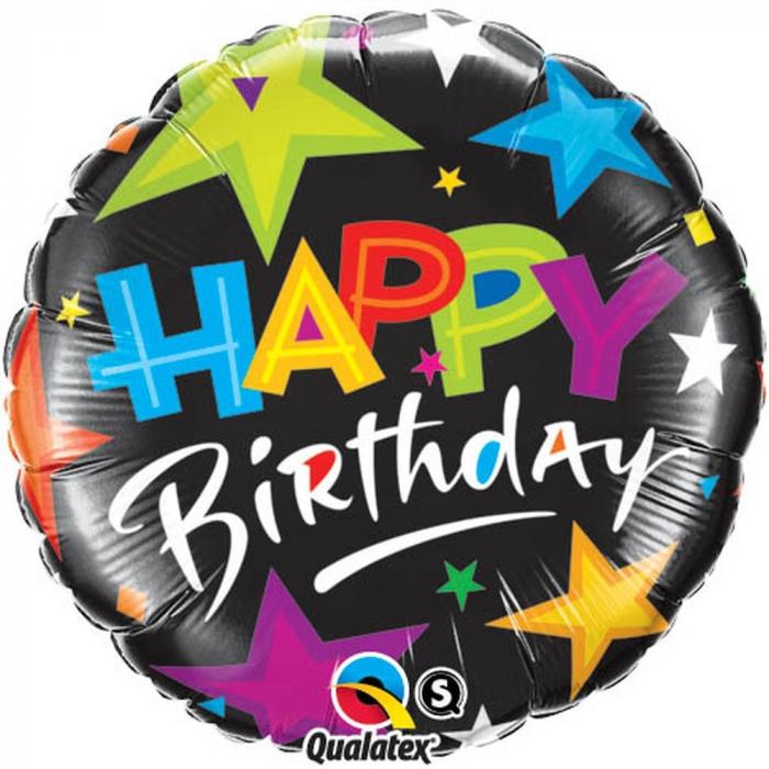 Balon Folie Happy Birthday Cu Stelute 45 cm 1 buc DB23785 0