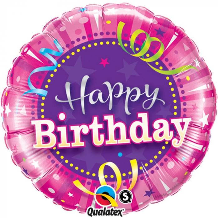 Balon Folie Happy Birthday Roz 45 cm 1 buc DB25435 0