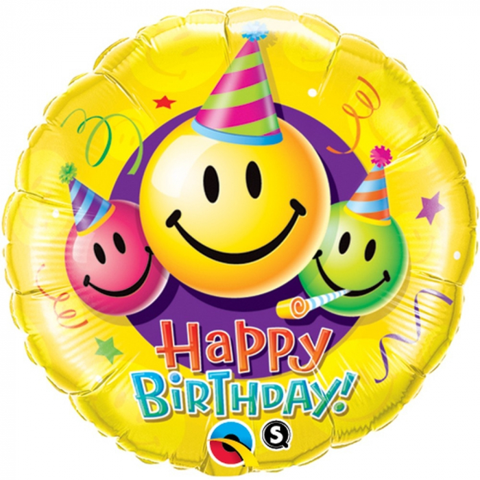 Balon Folie Happy Birthday Smiley Faces 45 cm 1 buc DB29644 0