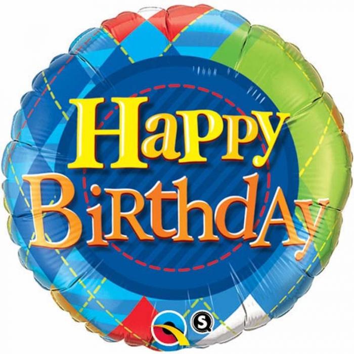 Balon Folie Happy Birthday Tartan Plaid 45 cm 1 buc DB36406 0