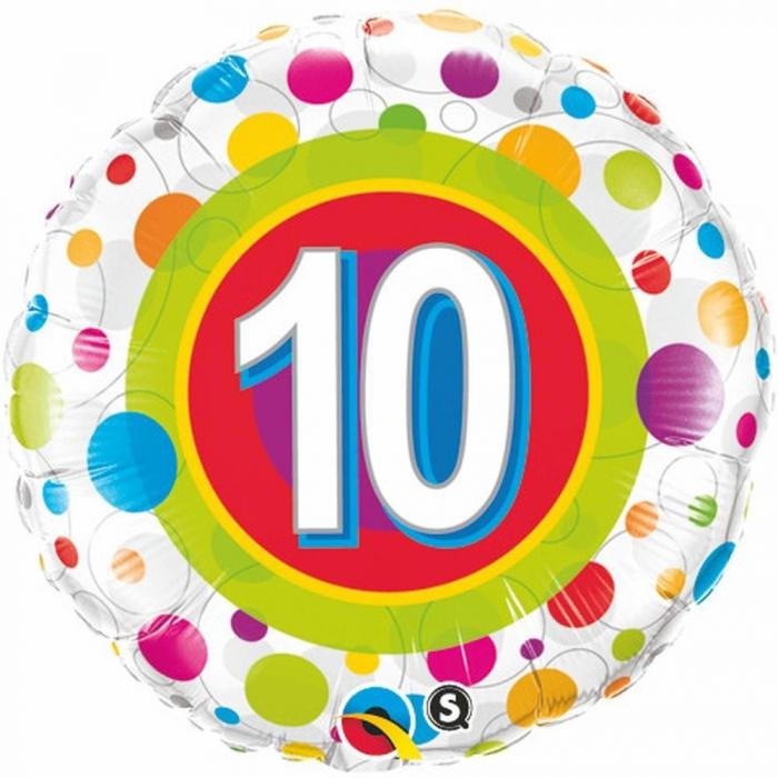 Balon Folie Numarul 10 Buline 45 cm 1 buc DB41120 0