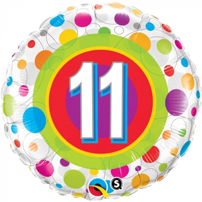 Balon Folie Numarul 11 Cu Buline 45 cm 1 buc DB41124 0