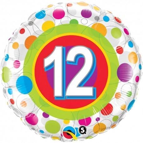 Balon Folie Numarul 12 Cu Buline 45 cm 1 buc DB41128 0