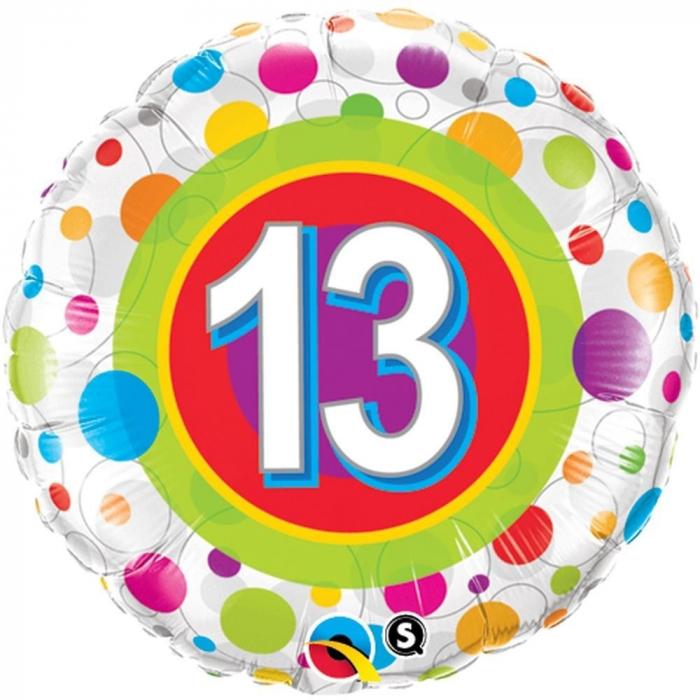Balon Folie Numarul 13 Cu Buline 45 cm 1 buc DB41132 0
