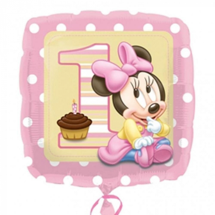 Balon Folie Patrat Minnie Baby Girl 1st Birthday 45 cm 1 buc DB230890 0