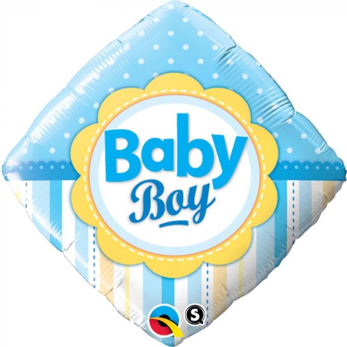 Balon Folie Patrata Baby Boy Cu Buline Si Dungi 45 cm 1 buc DB14637 0