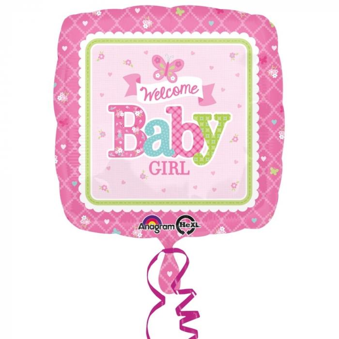 Balon Folie Welcome Baby Girl Butterfly 45 cm 1 buc DB3074701 [0]