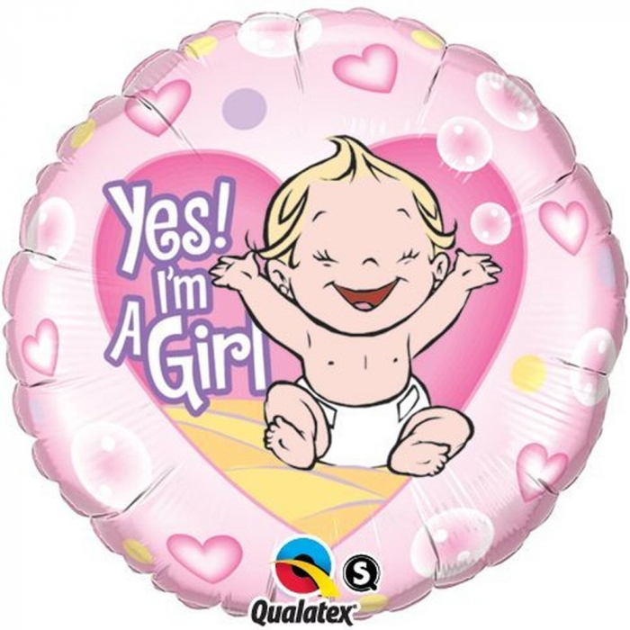 Balon Folie Yes I`m A Girl 45 cm 1 buc DB86890 0