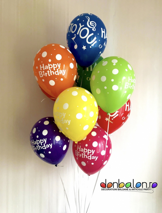 Buchet 10 Baloane Happy Birthday DBB18461 0
