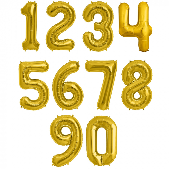 Cifra Gold Foil Balloons 1 buc 41 cm DBNB00442 2