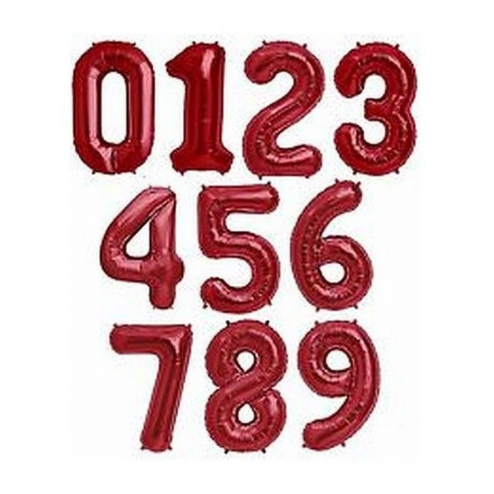 Cifra Rosu balon folie 1 buc 86 cm DB3486 0
