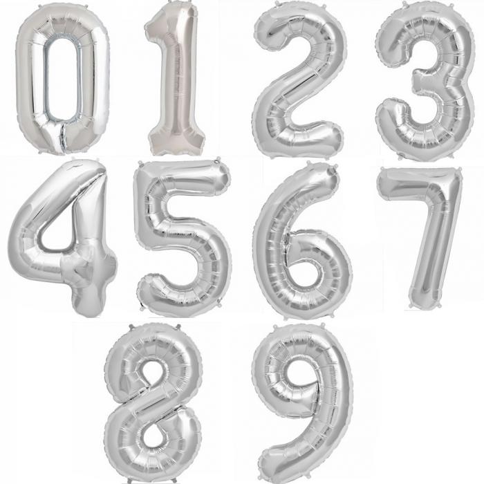 Cifra Silver Foil Balloons 1 buc 86 cm DBNB00094 0