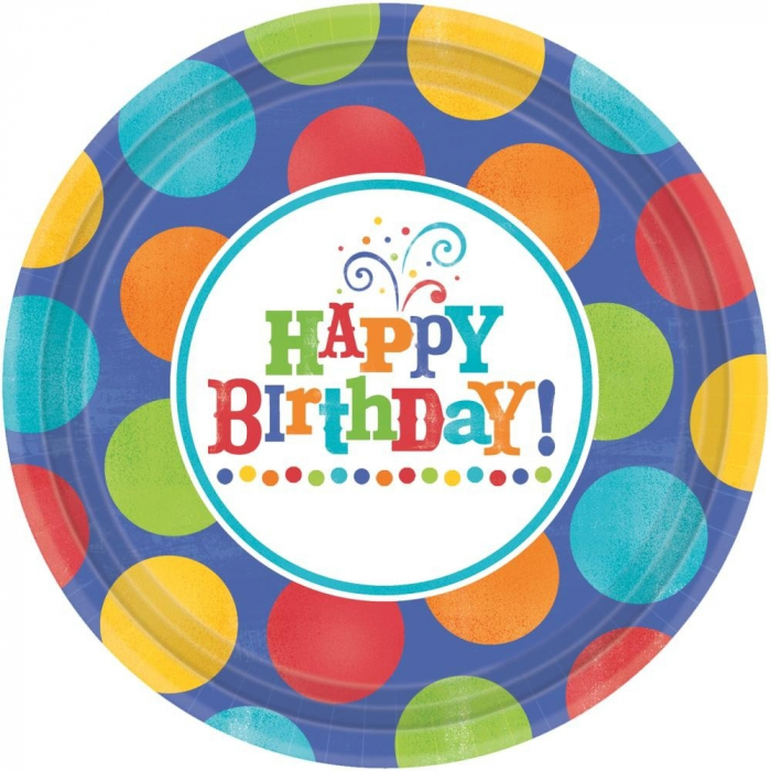 Farfurii Petrecere Copii Happy Birthday 266 cm Set 8 buc DB593680 0