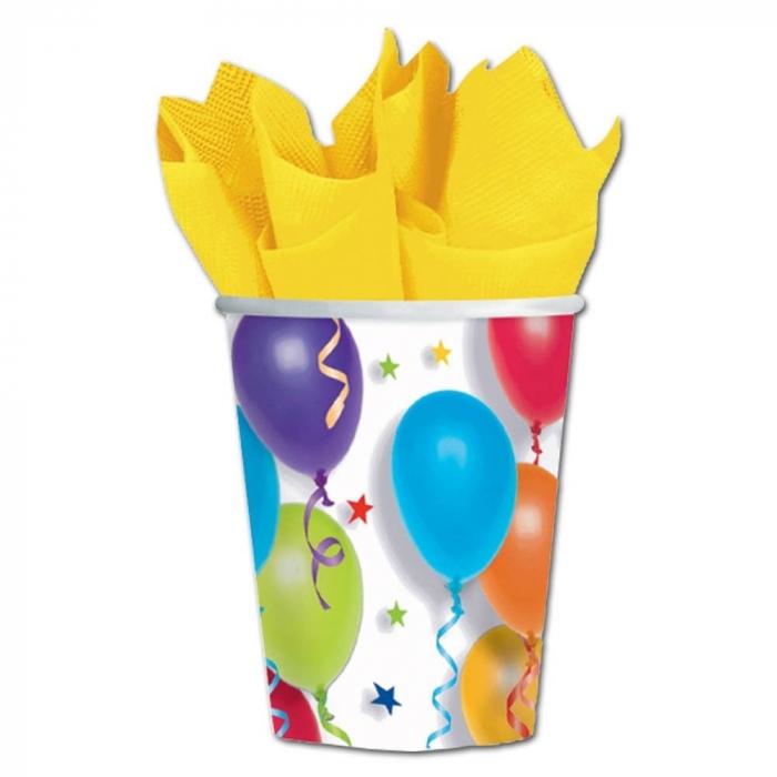 Pahare Carton Cu Baloane Multicolore Pentru Petrecere Copii 266 ml Set 8 buc DB589780 0