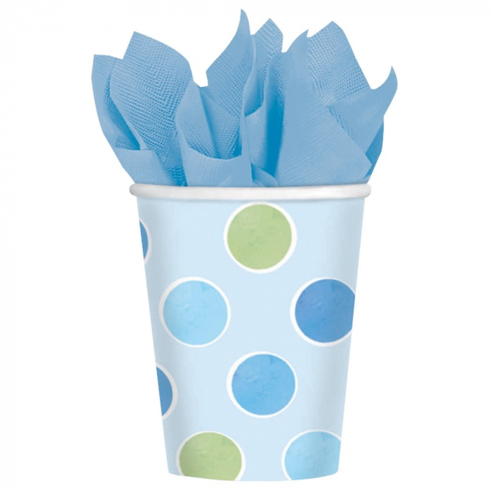 Pahare Carton Cu Buline Albastre Pentru Petrecere Copii 266 ml set 8 buc DB589458 0