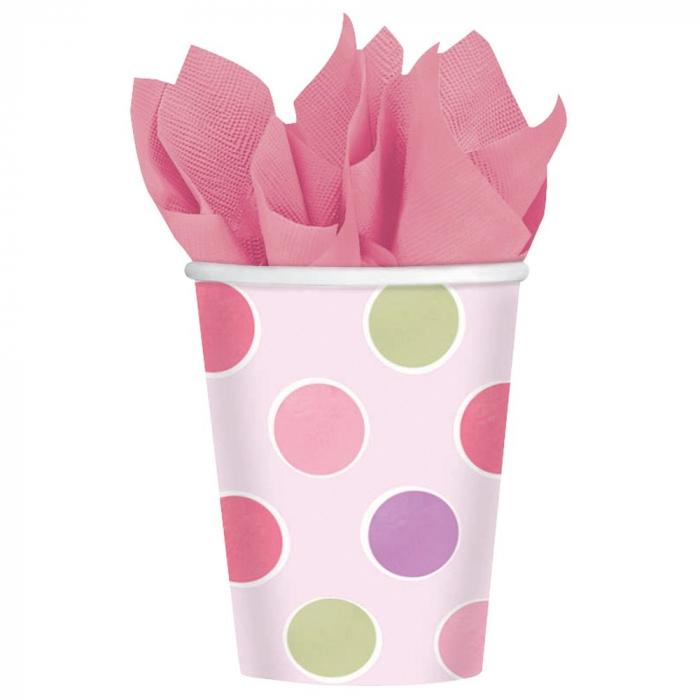 Pahare carton cu buline roz pentru petrecere copii 266ml Set 8 buc DB589457 0