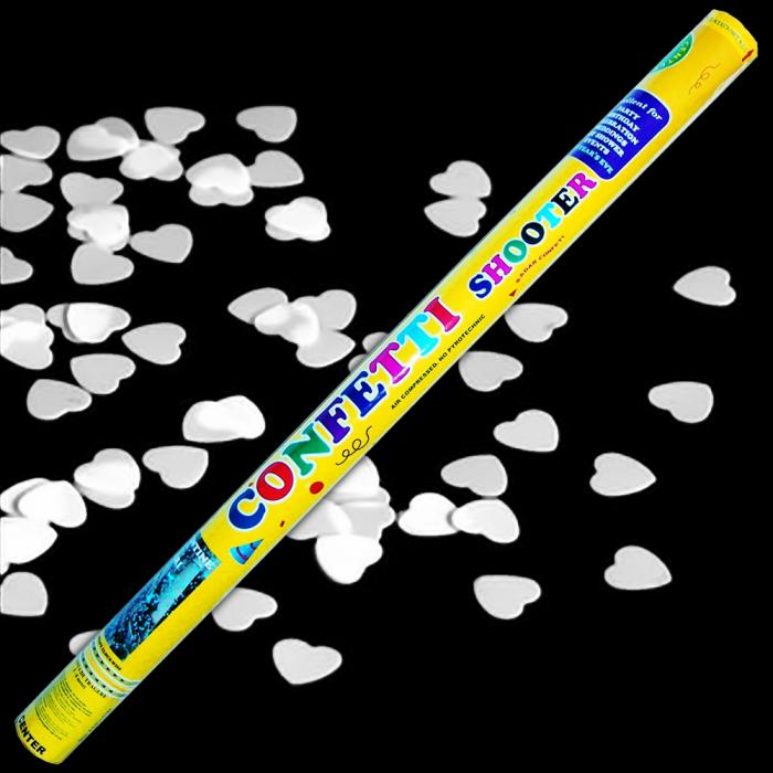 Tun de confeti 100 cm cu inimioare albe, DB.TUN.82100.WH, 1 buc 0