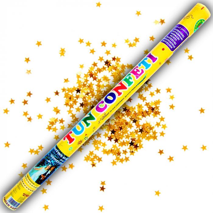 Tun de confeti 100 cm cu stelute aurii, DB.TUN.82100.GS, 1 buc 0