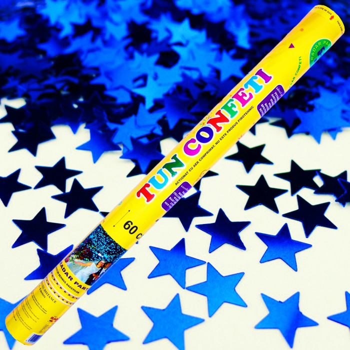 Tun de confeti 60 cm cu stelute albastre, DB.TUN.8260.BS, 1 buc 0