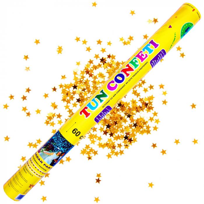 Tun de confeti 60 cm cu stelute aurii, DB.TUN.8260.GS, 1 buc 0