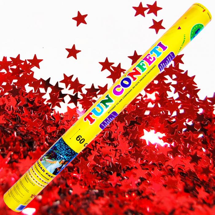 Tun de confeti 60 cm cu stelute rosii, DB.TUN.8260.RS, 1 buc [0]