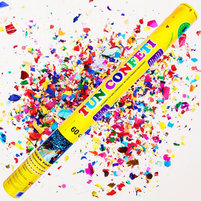Tun de confeti 60 cm multicolore, DB.TUN.8260.ASS, 1 buc 0