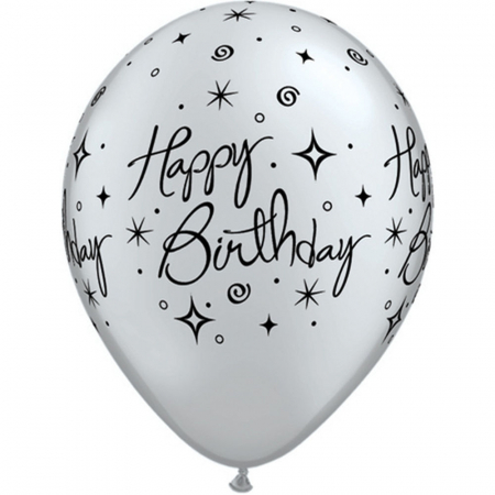 "Baloane latex 11"" inscriptionate Birthday Elegant Sparkles & Swirls Asortate,  DB252350"