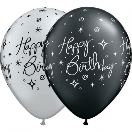 "Baloane latex 11"" inscriptionate Birthday Elegant Sparkles & Swirls Asortate,  DB252351"