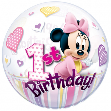 Balon bubble minnie mouse 1st birthday 56cm DB128621