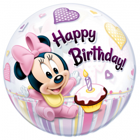 Balon bubble minnie mouse 1st birthday 56cm DB128620