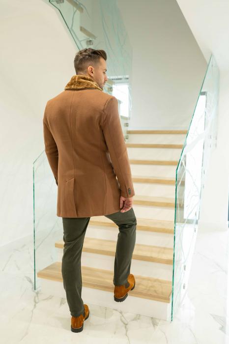 Palton LIAM cu guler din blana artificiala 3