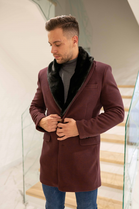 Palton CLARET cu guler din blana artificiala 0