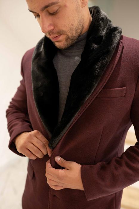 Palton CLARET cu guler din blana artificiala 1