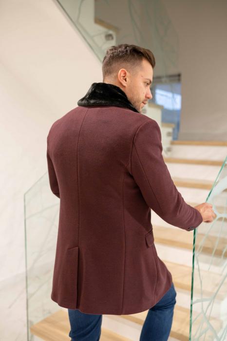Palton CLARET cu guler din blana artificiala 3