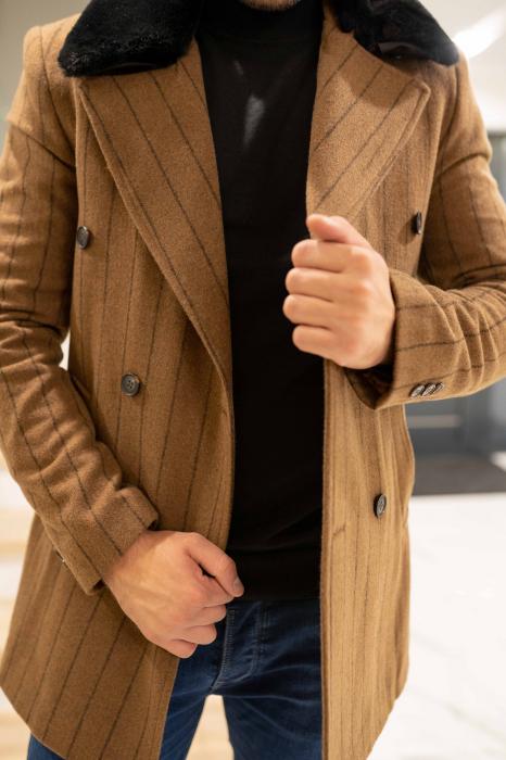 Palton STUART cu guler din blana artificiala 3