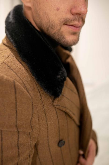 Palton STUART cu guler din blana artificiala 2