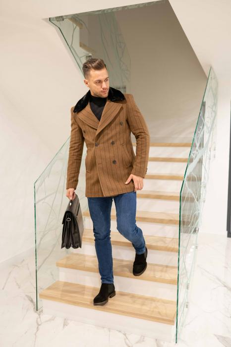 Palton STUART cu guler din blana artificiala 1