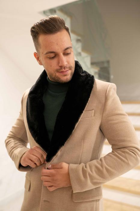 Palton LIAM cu guler din blana artificiala 1