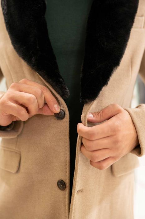 Palton LIAM cu guler din blana artificiala 2