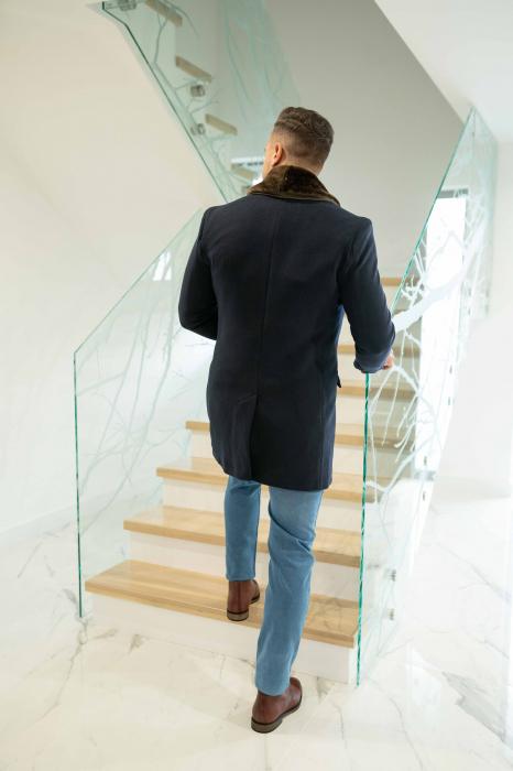 Palton MATEO cu guler din blana artificiala 3