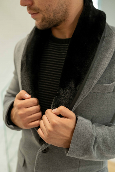 Palton CLARET cu guler din blana artificiala 2