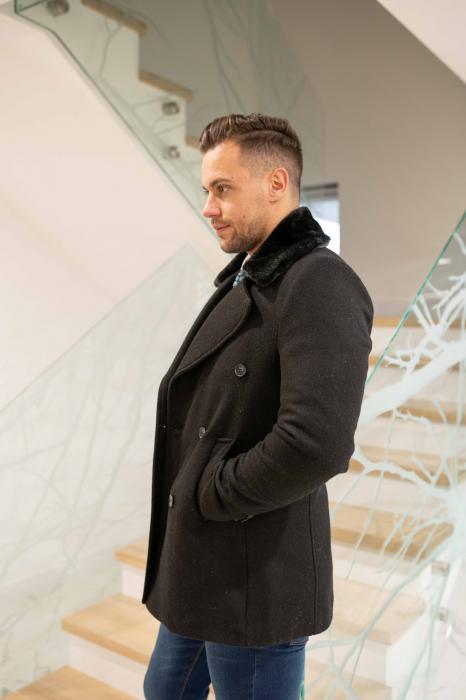 Palton  ARIZONA de barbati  cu guler din blana artificiala 0