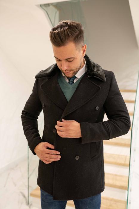 Palton  ARIZONA de barbati  cu guler din blana artificiala 2