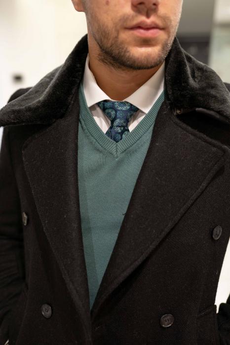 Palton  ARIZONA de barbati  cu guler din blana artificiala 3