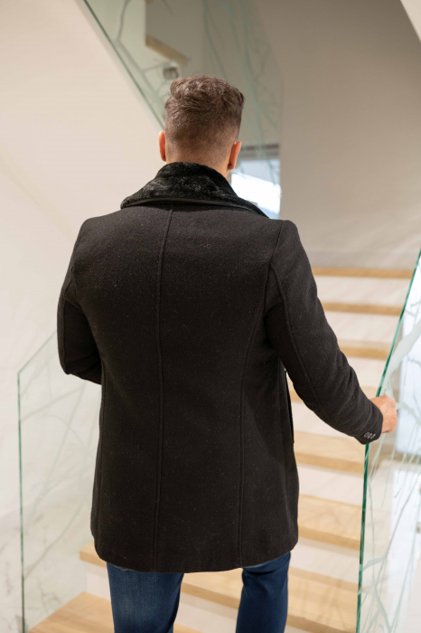 Palton  ARIZONA de barbati  cu guler din blana artificiala 4
