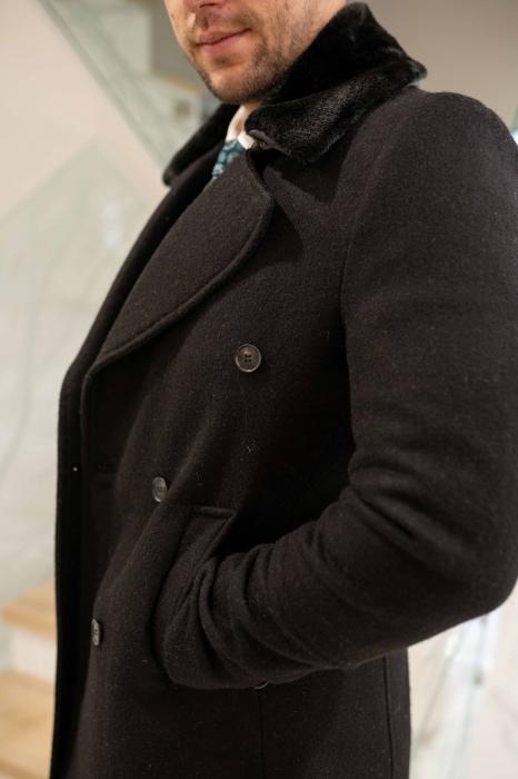 Palton  ARIZONA de barbati  cu guler din blana artificiala 5
