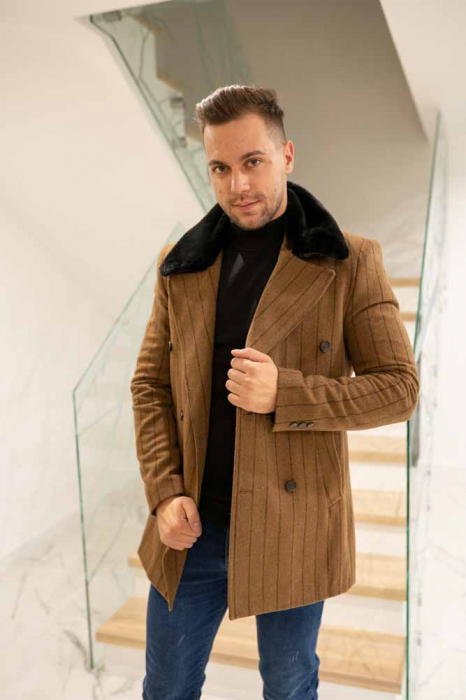 Palton STUART cu guler din blana artificiala 0