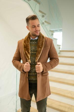 Palton LIAM cu guler din blana artificiala0