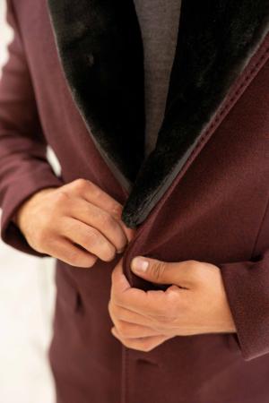 Palton CLARET cu guler din blana artificiala2