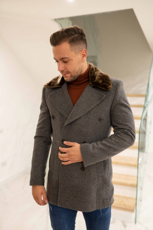Palton POLIMPIER cu guler din blana artificiala0
